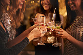 Female Friends Make Toast As They Celebrate At Party