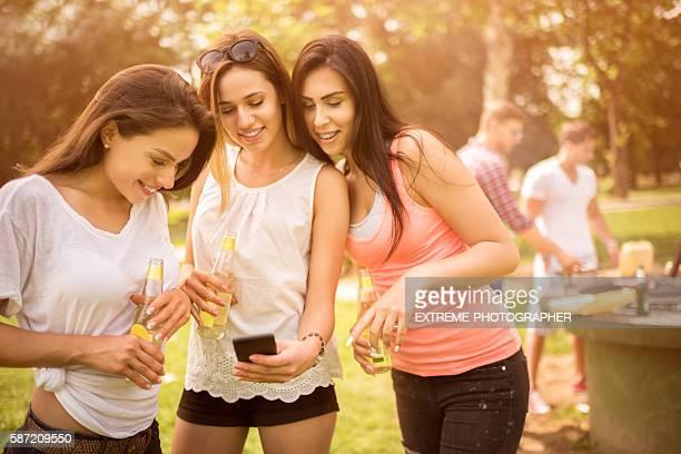 Female friends on a barbecue picnic