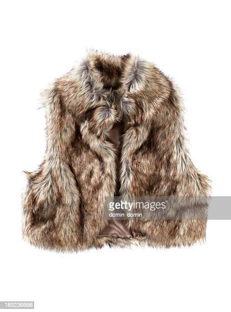 Female Fur vest isolated on white
