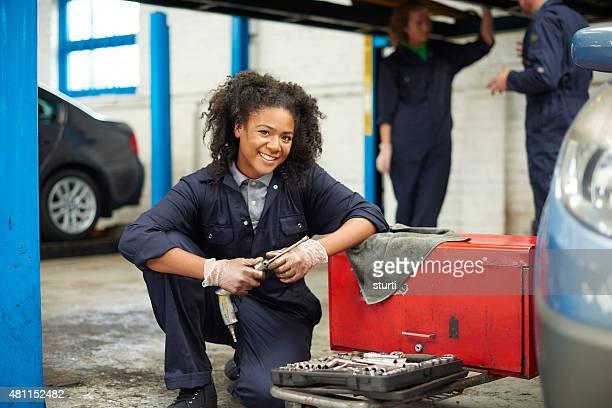 female garage mechanic portrait