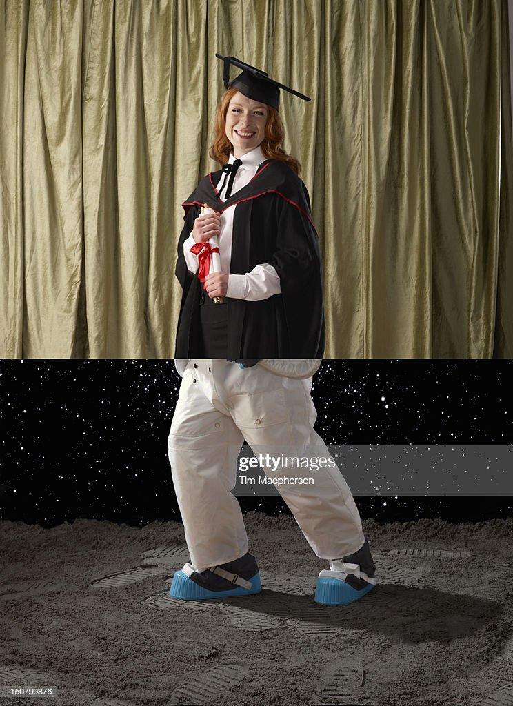 Female graduate top, spaceman bottom : Stock Photo