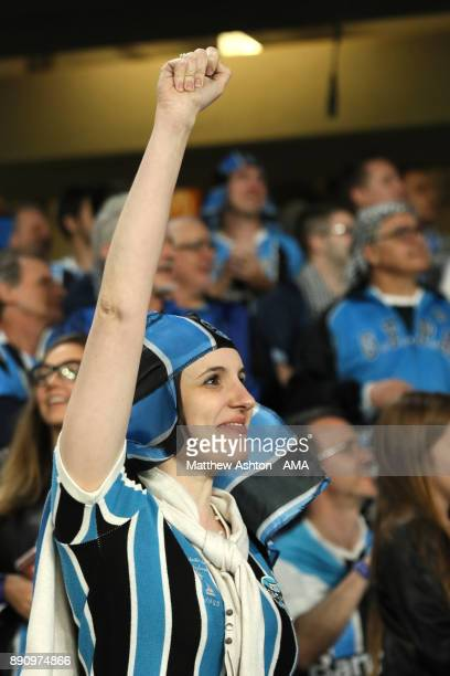 A female Gremio fan shows her support prior to the FIFA Club World Cup UAE 2017 semifinal match between Gremio FBPA and CF Pachuca at Hazza Bin Zayed...