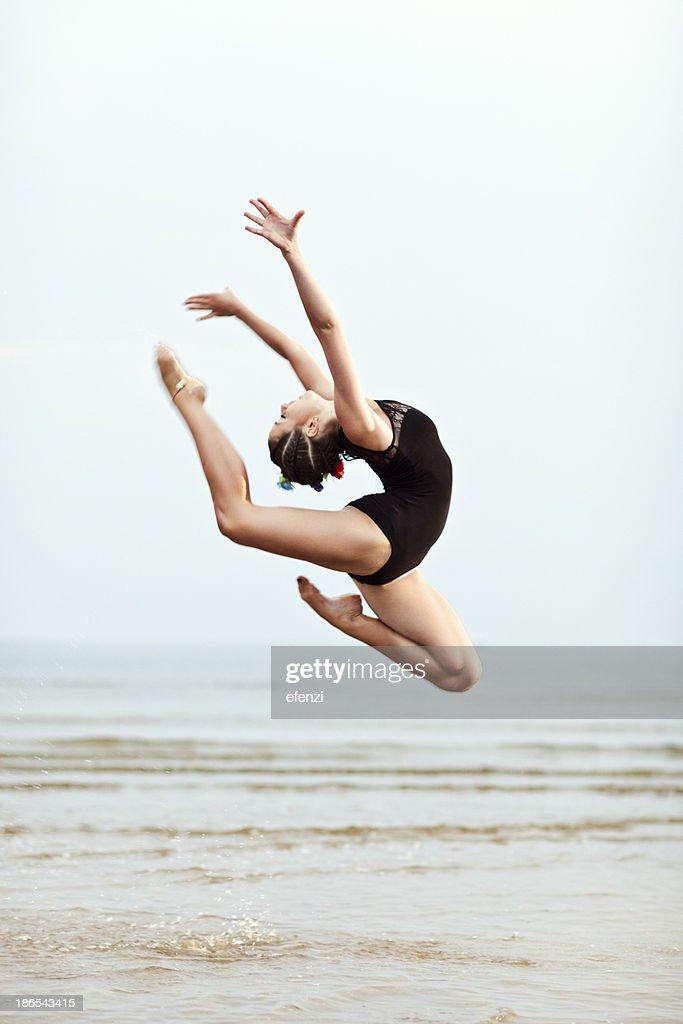 Female Gymnast Jumping