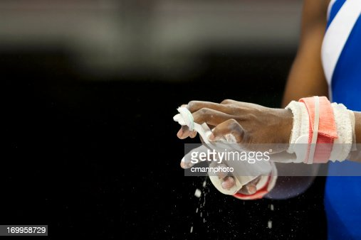Female Gymnast prepare for competition