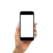 Female hand holding a smartphone with blank screen isolated on white background