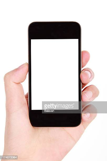 Female hand holding black phone with blank screen