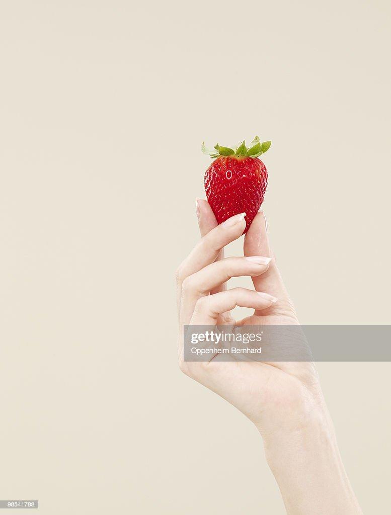 female hand holding single strawberry : Stock Photo
