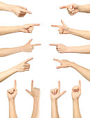 Female hand pointing. Collection isolated over white background, set of multiple pictures