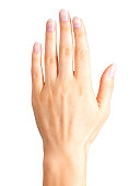 Female hand showing five fingers and palm. Isolated with clipping path.