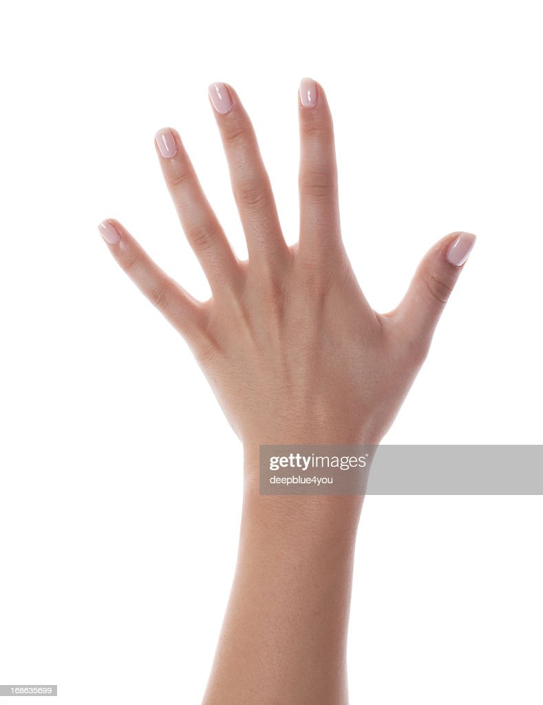 Female hand with fresh painted nails on white