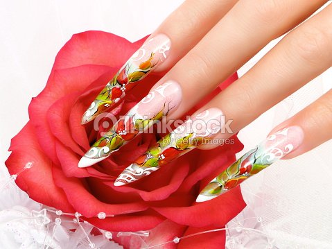 Female Hand With Manicure And Beautiful Design On Nails Stock Photo