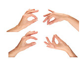 Female hands holding, picking up isolated on a white background.