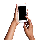 Black female hand touching mobile phone display and pointing with index finger on blank screen, white isolated background, copy space, cutout