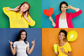 Set of beautiful happy girls emotional portraits. Positive and female feelings. Young women grimacing and having fun on camera at colorful studio background