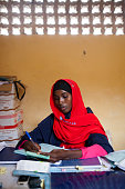 A female health care worker at a SAACID nutrition and health care center for children under 5 years old in Mogadishu