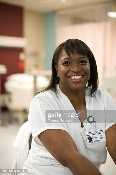Female health worker, smiling, portrait