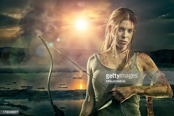 Female heroine with bow and arrow