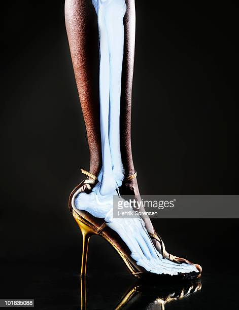 Female high heel foot with skeleton visible