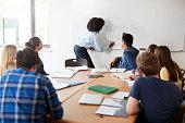 Female High School Tutor At Whiteboard Teaching Maths Class