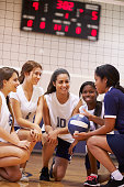 Female High School Volleyball Team Have Team Talk From Coach Smiling