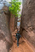 Female hiker explores slot canyon, desertlands