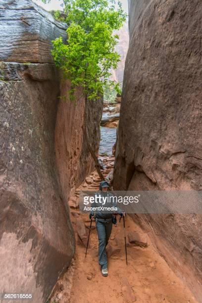 Female hiker explores slot canyon, desertlands