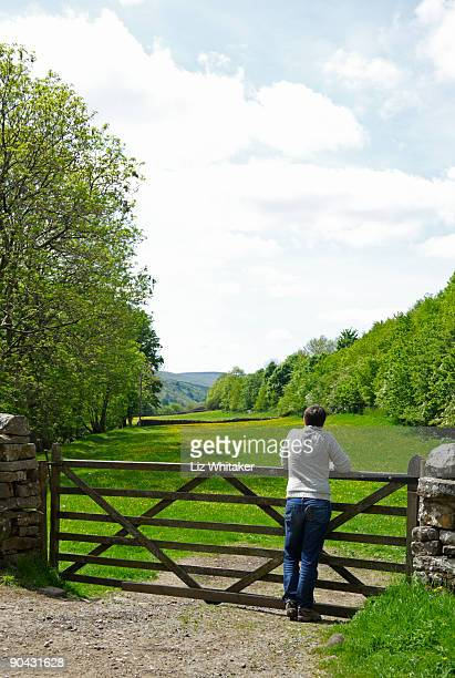 Female hiker leaning on gate, admiring view