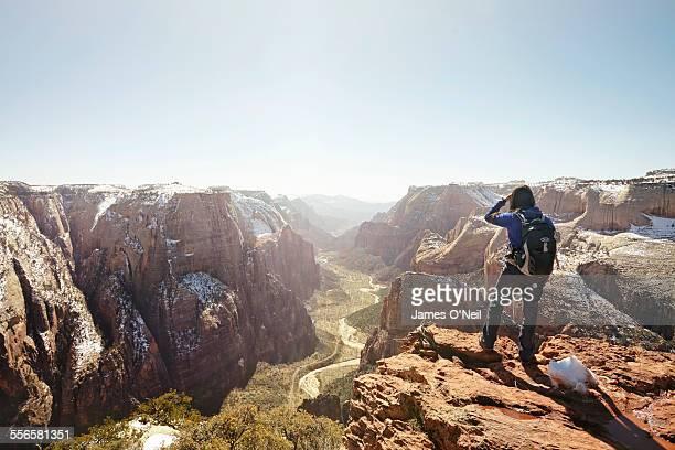 female hiker overlooking valley