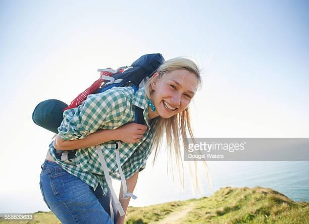 Female hiker smiling