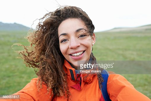 Female hiker taking self portrait