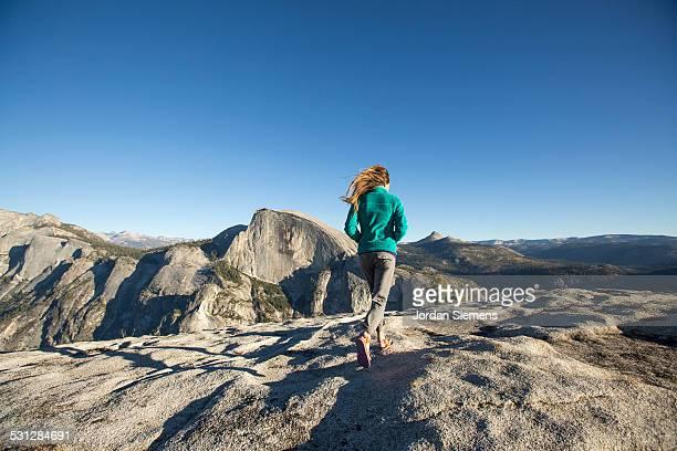 A female hiking in Yosemite.