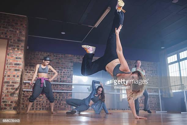 Female hip hop dancers performing in studio