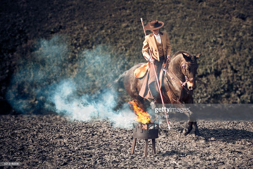 Female horse rider in traditional costume. : Stock Photo
