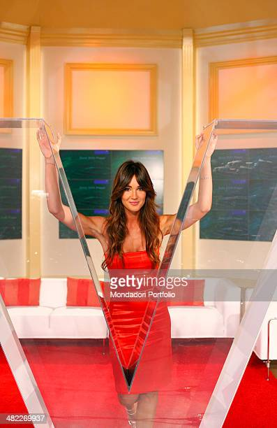 Female host Silvia Toffanin during a photo shoot about the backstage of Verissimo the program she hosts on September 26th 2008 at Mediaset Studios...