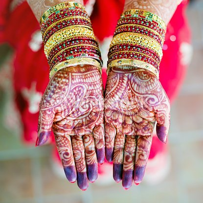 Female Indian Openpalm Hands Display Henna Wedding Design Stock