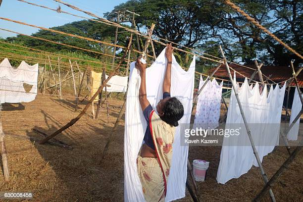 A female Indian worker hangs laundry clothing washed in a stone bath on the line at an openair laundry facility