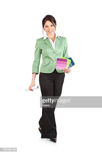 A female interior designer in business attire