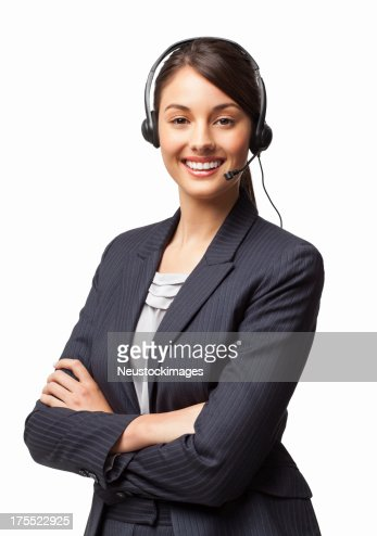 Female IT Helpdesk Manager Smiling With Arms Crossed - Isolated