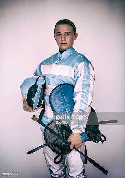 Female Jockey with Saddle and Helmet