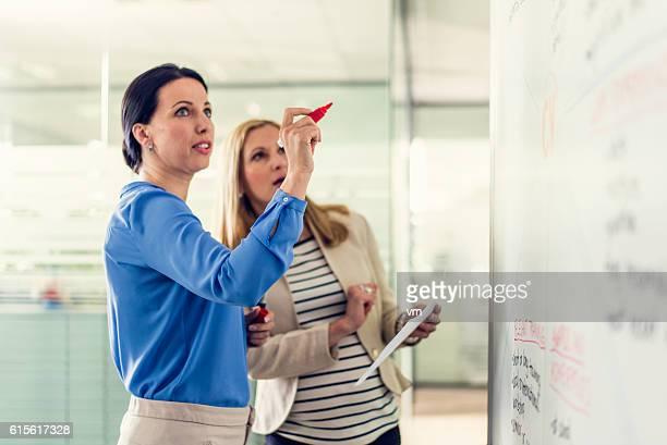 Female lecturer explaining something to adult student