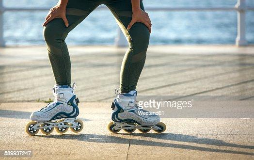 Female legs skating