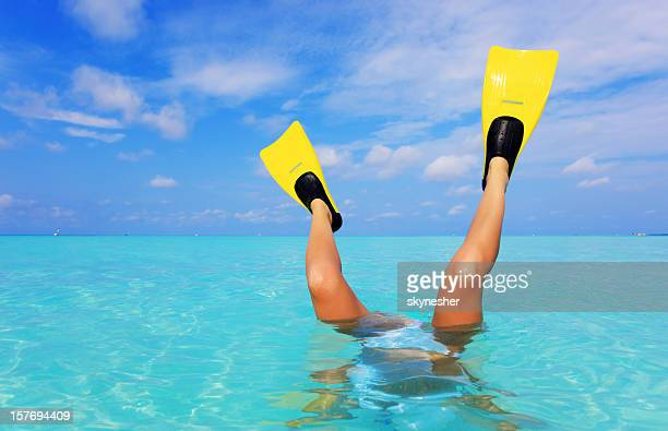 Female legs with flippers in the sea.