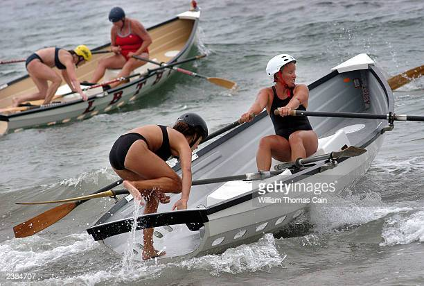 Female lifeguards compete in the Women's Surf Boat competition during the United States Lifesaving Association Lifeguard Championships August 9 2003...
