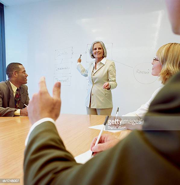 Female Manager Pointing at a Flow Chart on a Wipe Board and Asking Business Executives Questions at a Presentation in a Conference Room
