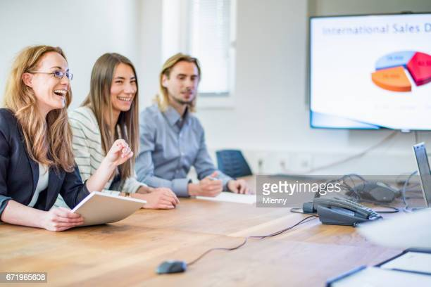Female Manager with Team Successful Business Sales Meeting