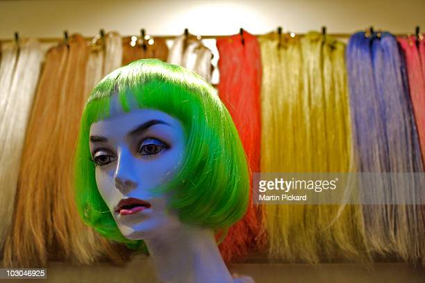 Female Manequin in a green wig