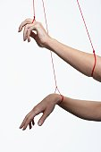 Female marionette's arms, close-up