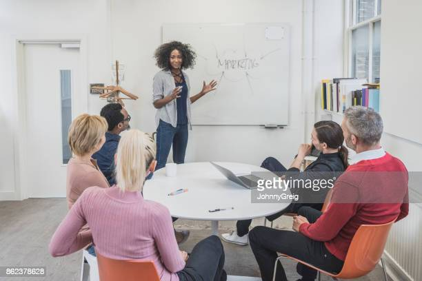 Female marketing manager using whiteboard with five colleagues listening