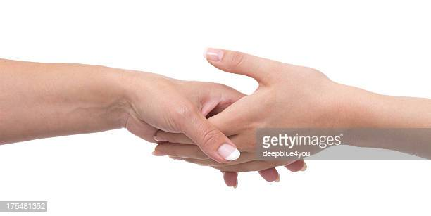 Female mature hand holding young hand isolated