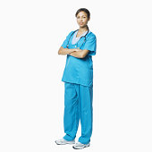 Female Medical Professional in Scrubs - Isolated